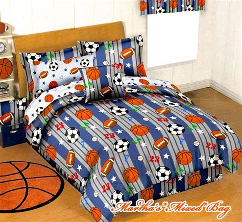full size sports bedding boys blue gray sports baseball basketball football soccer