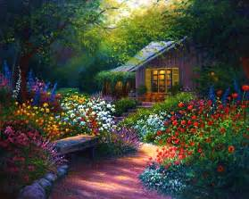 flower garden path paintings bing images cottage art