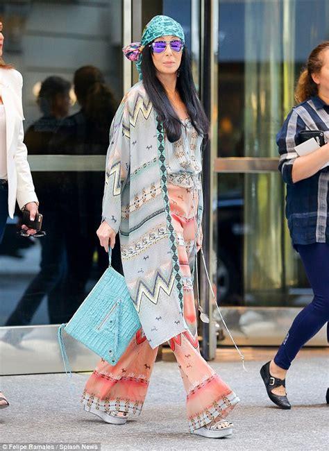 cher hippie style cher models a groovy bohemian kaftan and headscarf daily