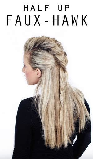 easy hairstyles you can do in 5 minutes half up faux hawk easy hairstyles you can do in 5