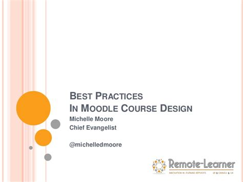best practices in moodle course design