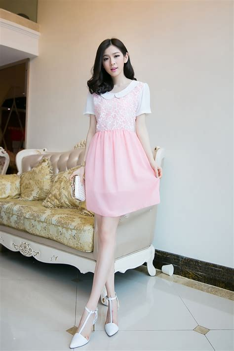 Kp 15 3 Pink Brokat Dress mini dress korea sifon bunga model terbaru jual murah