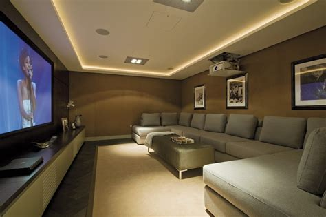 home theatre design concepts media room ideas decorating home theater contemporary with u shaped sofa ceiling lighting corner
