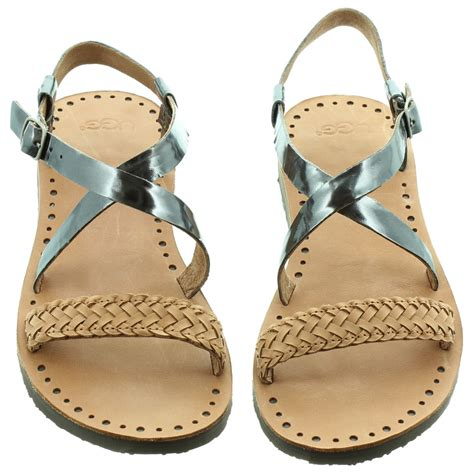 ugg jordyne flat sandals in pewter in pewter
