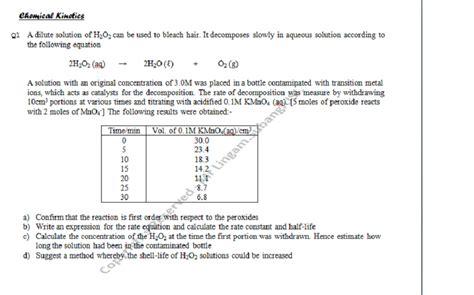 tutorial questions on chemical kinetics stpm short questions chemical kinetics