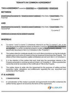 tenants in common agreement template agreement between tenants in common joint ownership