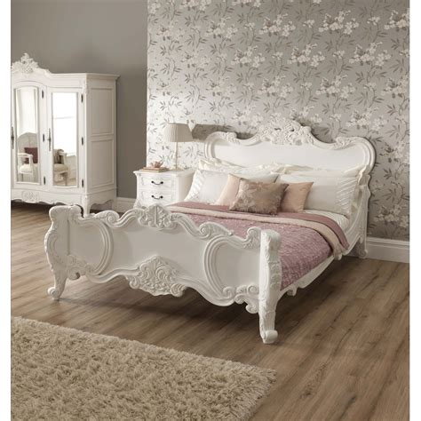 La Rochelle Antique French Style Bed   Shabby Chic Bedroom