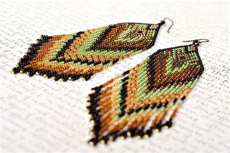 bead fringe fringe earrings seed bead earrings beaded earrings