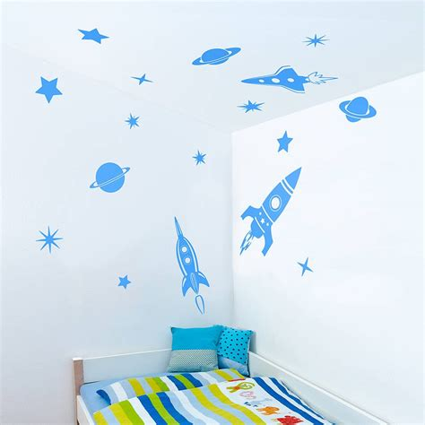 rocket wall sticker blue space rockets wall stickers wall wallpaper