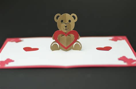 teddy bear pop up card tutorial and template creative