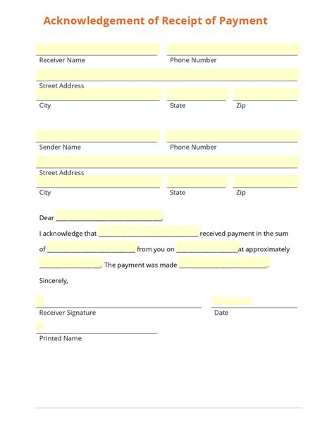 template of receipt of payment business form template gallery
