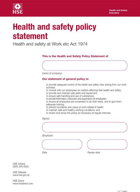 health and safety policy download free premium