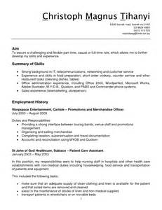 Grocery Stock Clerk Sle Resume by Sle Resume For Store Clerk Media Templates