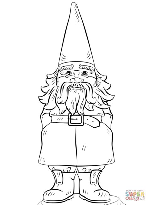 garden gnome coloring page free printable coloring pages