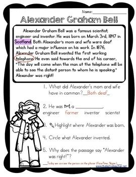 alexander graham bell biography worksheet alexander graham bell reading passage by the techie