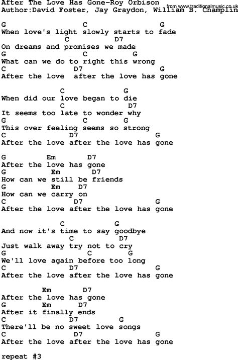 country music gone for good country music after the love has gone roy orbison lyrics