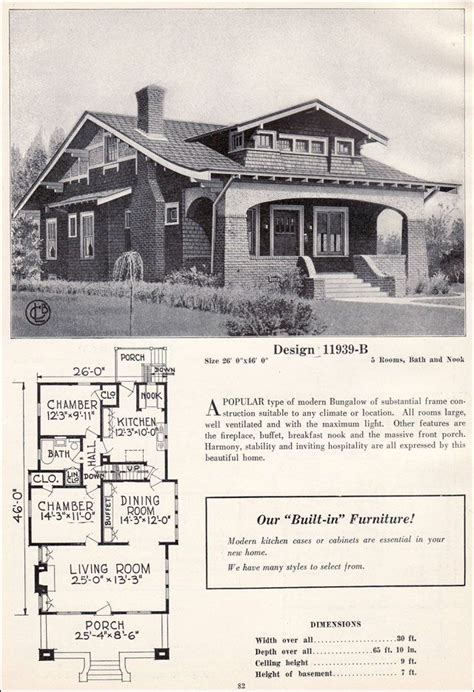 1920 Bungalow House Plans by Design 11939 B C 1923 C L Bowes Co This Craftsman