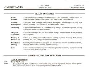 resume skills section sle resume writing tip 3 skills summary section gordon