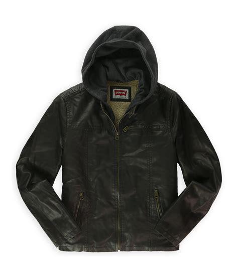 Jaket Hoodie Smile Brown levi s faux leather hooded jacket jumpers sale