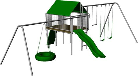 Backyard Clubhouse Swing Set