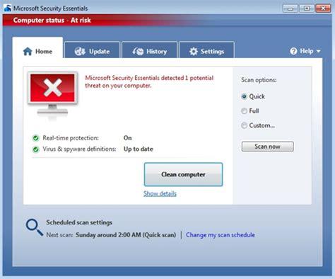 antivirus free download full version microsoft microsoft security essentials screenshot windows mode