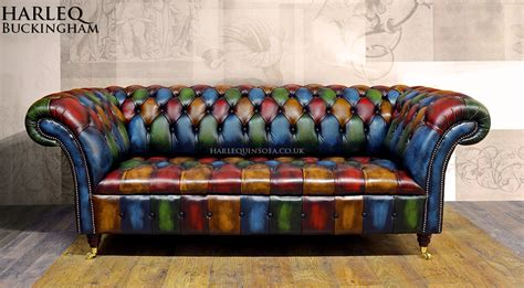 Chesterfield Patchwork Sofa Patchwork Chesterfield Sofa Harlequin Leather Buckingham Button Seat