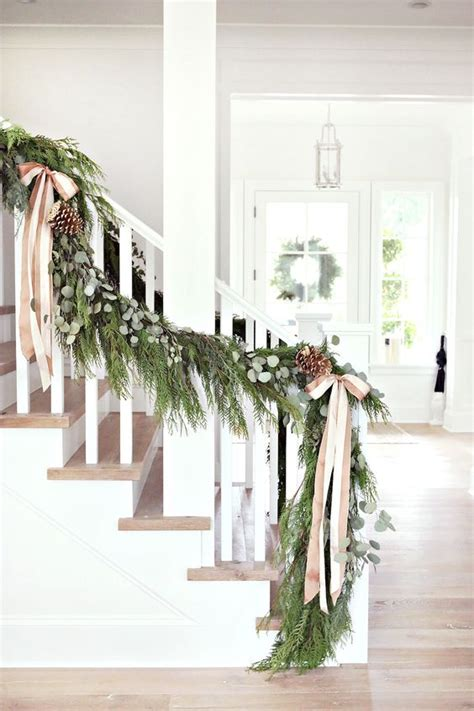 christmas banister garland 37 beautiful christmas staircase d 233 cor ideas to try digsdigs
