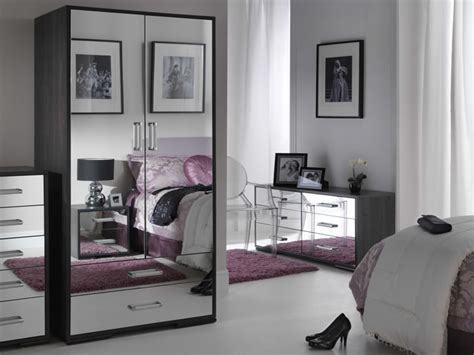 bedroom ideas white polished wood mirrored bedroom furniture grey upholstered tufted