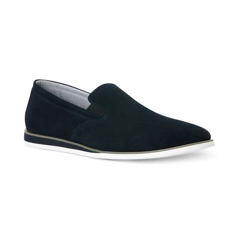 suede slip on loafers calvin klein kroy suede slip on loafers in blue for