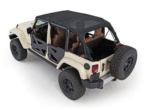 4 Door Jeep Wrangler With Top Smittybilt 94500 Extended Mesh Top Black For 07 09