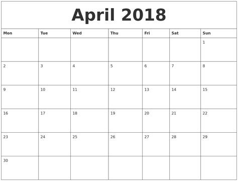 printable monthly calendar 2018 april 2018 free printable monthly calendar