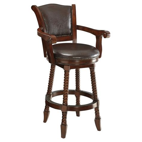 Traditional Wooden Bar Stools by Benzara Traditional Rope Twist Wooden Bar Stool Brown