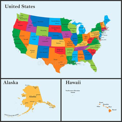 map of united states including alaska the detailed map of the usa including alaska and hawaii