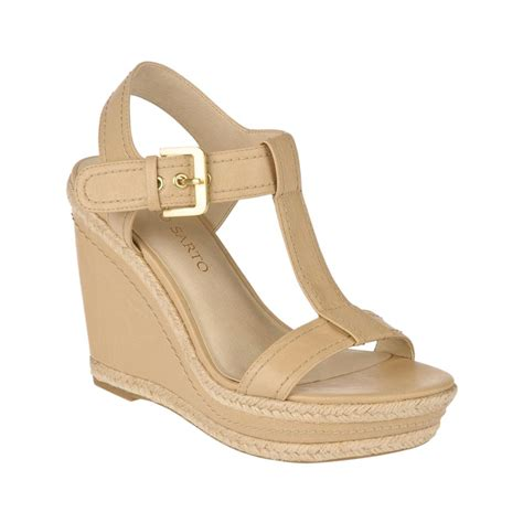 franco sarto sandals franco sarto ambrosia wedge sandals in beige sand lyst