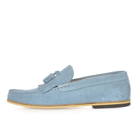 light in loafers river island light blue suede tassel loafers in blue for