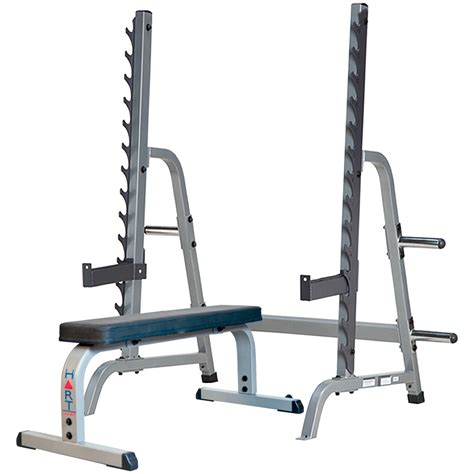 bench with rack hart multi press rack combo flat bench hart sport