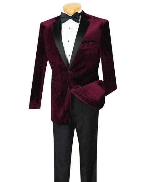 wine color tuxedo sku ch71 mens 2 button wine velvet tuxedo notch lapel