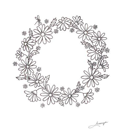 flower pattern in circle humming needles daisy wreath design