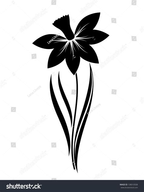 abstract vector narcissus flower silhouette 138010508
