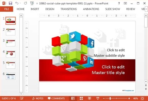 Free Social Cube Ppt Template Social Media Marketing Ppt Template Free