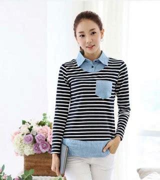 Mini Dress Kemeja Kerja Garis Lengan Panjang Baju Wanita Korea Import kaos kemeja wanita garis garis cantik model terbaru