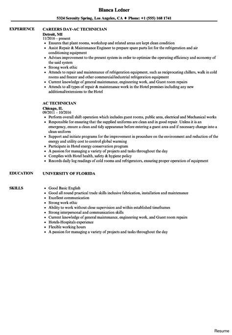 hvac technician resume sles hvac technician resume exle krida info