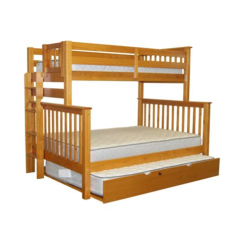full bunk bed with trundle bedz king mission twin over full bunk bed with full