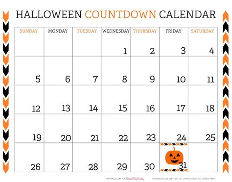 free printable daily countdown calendar free printable halloween countdown calendar catchmyparty com