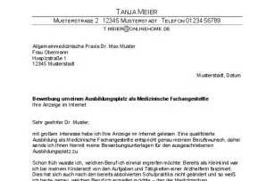 Bewerbung Medizinische Fachangestellte Ausbildung