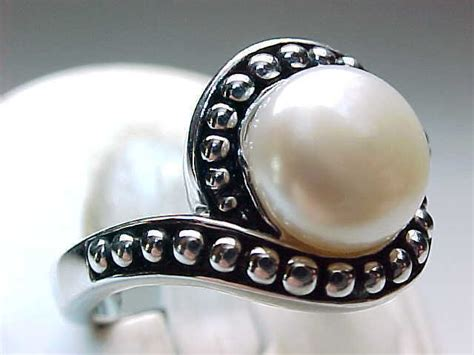 01e44erbest Seller Ring Pearl Simple Silver vintage genuine pearl ring in sterling silver size 9 rings