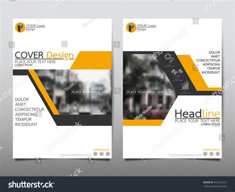 report layout design free download yellow annual report brochure flyer design stock vector