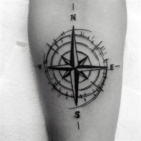 tattoo compass travel simple nautical star compass travel leg tattoo on
