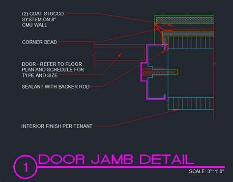 door jamb cmu w stucco cad files dwg files plans and details