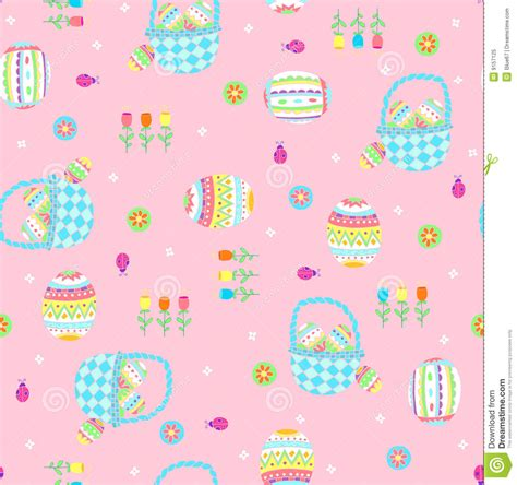 free eastern pattern background easter baskets seamless repeat pattern royalty free stock